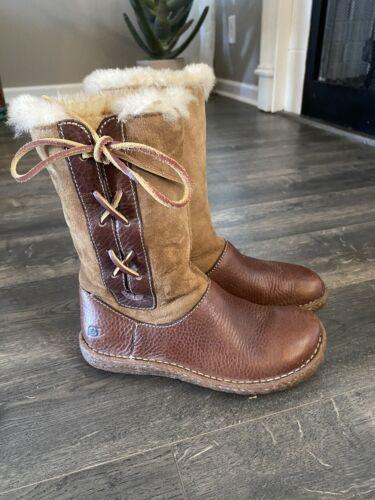 Born Yuma Brown Shearling Leather Boots Winter Moc