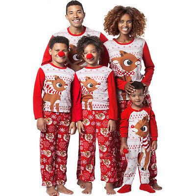 Family Matching Christmas Pajamas Set Men/'s Women Kids Deer Sleepwear Nightwear