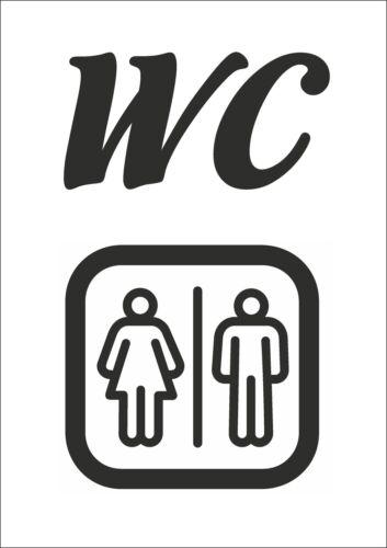 WC Baños Pegatina Sticker nota pipí baño baño puerta diapositiva 25 cm versículo colores