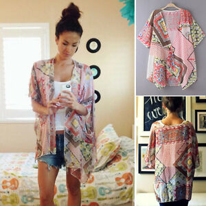 Fashion-Women-039-s-Chiffon-Blouse-Short-Sleeve-Shawl-Kimono-Cardigan-Cover-up-Tops