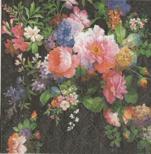 4 Servietten ~ Opulenter edler Blumenstrauß Rosen Vintage Nostalgie