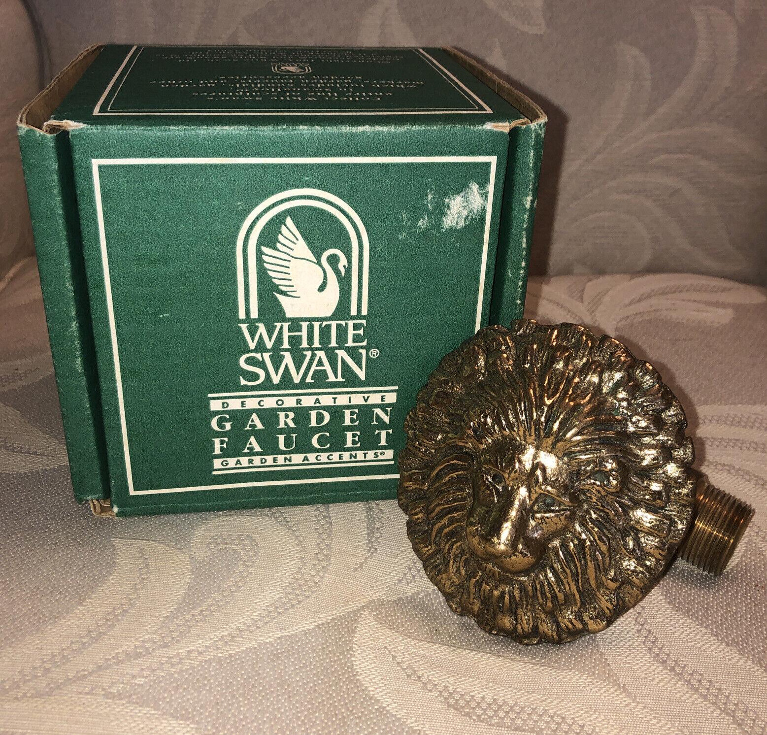 NEW White Swan Garden Accent Outdoor LION HEAD Water Faucet Spigot - NIB