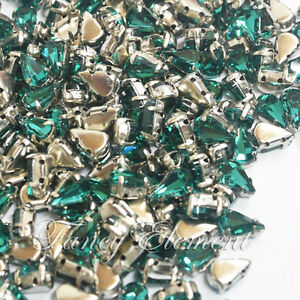 Image is loading 48pcs-Glass-Teardrop-4328-Emerald-Green-5x8mm-Crystal- 0d04d2367c59