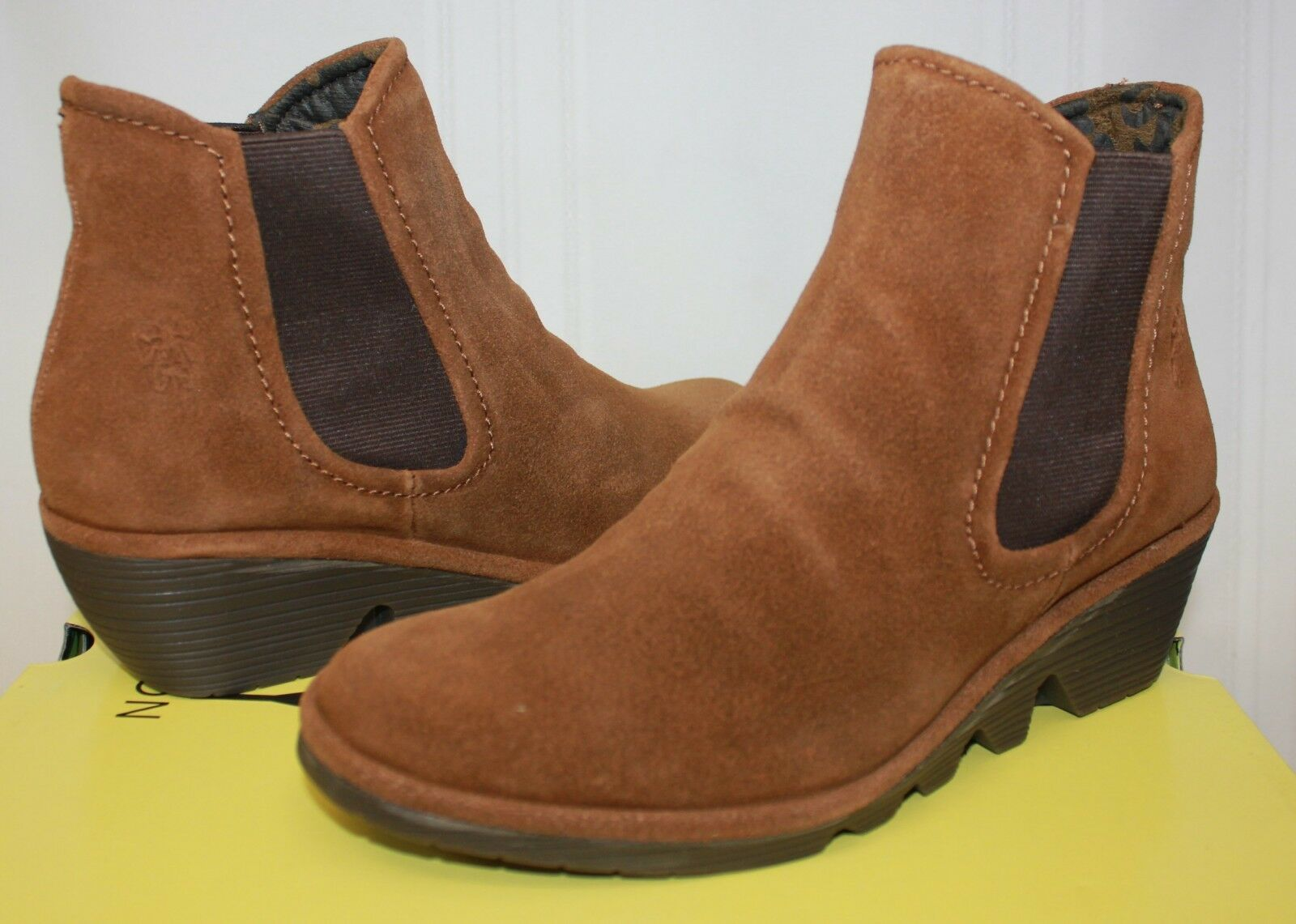 FLY LONDON Phil Wedge Chelsea Booties Camel Brown Oil Suede New With Box