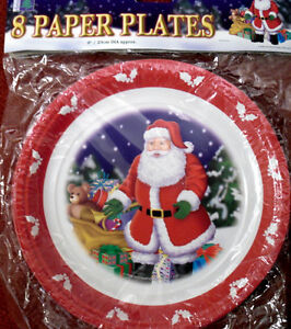 Christmas Paper Plates.Details About Christmas Paper Plates Party Plate Santa 8 Pack Merry Christmas