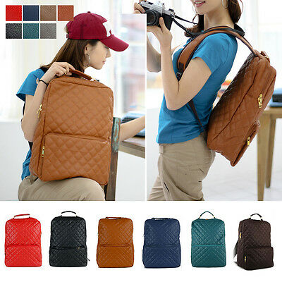 NEW Womens Quilting Backpack Satchel Book Bags Casual School Bag Faux Leather