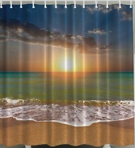 Image Is Loading Ocean Sunset Beach Fabric SHOWER CURTAIN Sand Water   Tropical Shower Curtain