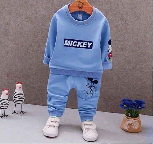 Kids Clothing Boys Girls Baby Cartoon Cotton Winter Children T-Shirt Pants Suit