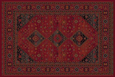 Kashqai 4345/300 Red Rust Nomadic Tribal Design Quality Rug Runner Wool