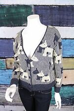 Hertiage 1981 H81 Forever 21 Blue Cream Scottie Dog Cardigan Sweater SMALL S