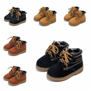 Kids Boys Warm Martin Boots Toddler Ankle Boots Casual Shoes Lace-up Size 5-11