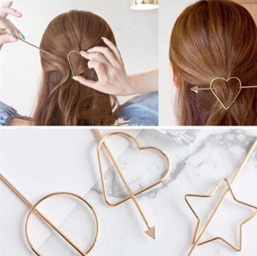 1Pcs Fashion Women Girls Gold//Silver Heart Star Hair Stick Hairpin Chignon Pins