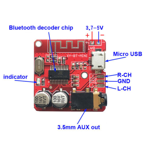 Bluetooth4.1 Decoder Modified Circuit Stereo DIY Board Micro-USB 3.7-5V BattACD