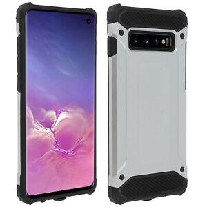 Defender-Custodia-di-protezione-della-serie-II-Samsung-Galaxy-S10-Drop-PROOF-ARGENTO