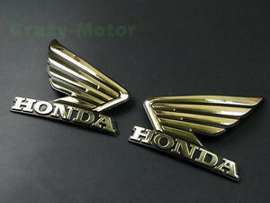 Gold 3D Wing Fuel Tank Badge Emblem Decal Sticker Custom For
