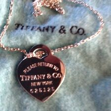 Tiffany Corazón De Plata Cadena y etiqueta de perro