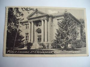 PUBLIC-LIBRARY-ST-CATHERINES-ONTARIO-CANADA-1935-VINTAGE-POSTCARD