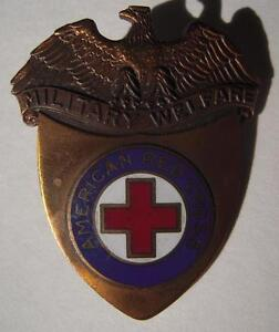 WW2-ARC-Military-Welfare-Hat-Badge-American-Red-Cross