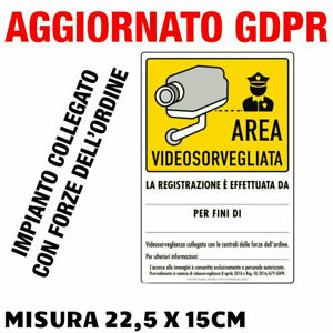 """N°2 Cartelli adesivi """"AREA VIDEOSORVEGLIATA"""" Aggiornato GDPR UE 2016/679 a norma"""