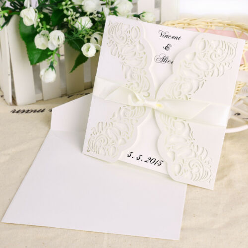 "30x Invitation 6/"" X 6/"" Basket Heart Lace Doily Paper Envelopes W// Ribbon Wedding"