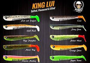 Monkey-Lures-10-cm-King-Lui-Gummifische-Kunstkoeder-alle-neuen-Farben