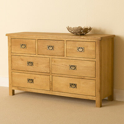 Lanner Oak 3 Over 4 Chest of Drawers / Large Rustic 7 Drawer Chest / Handcrafted