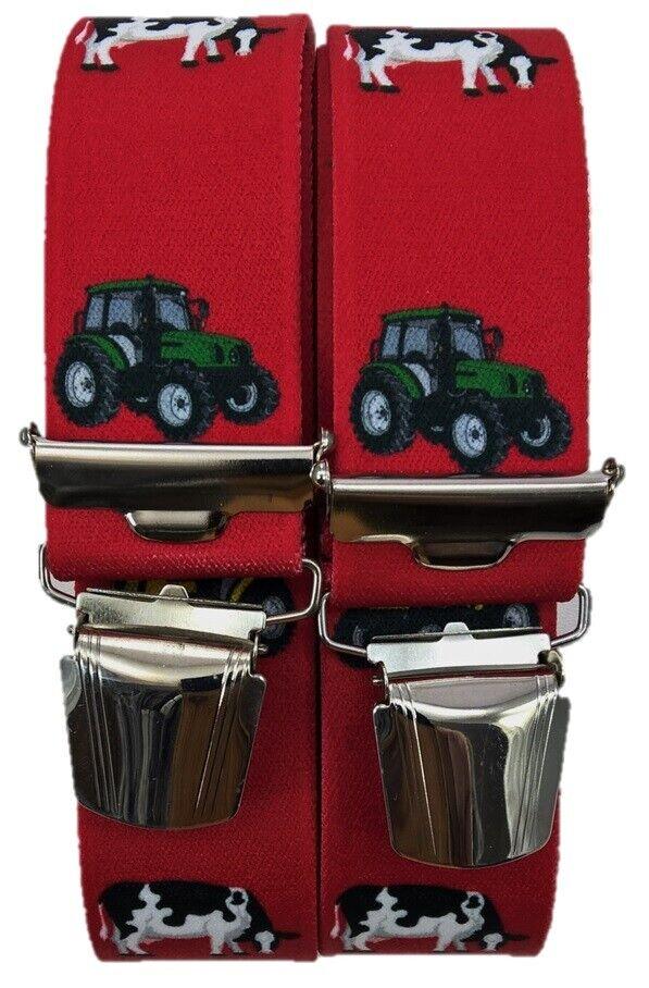 No.1 breite Hosenträger,Landwirtschaftliche Motive,4 extra starke Klips,Traktor