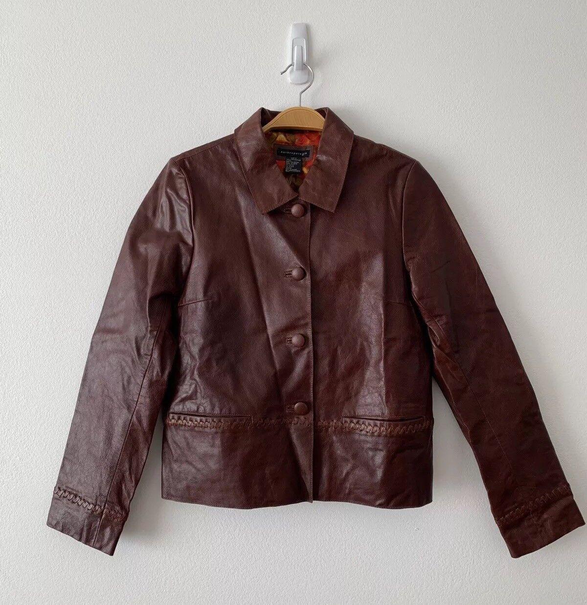 Nuevo con etiquetas Chaqueta Blazer de cuero marrón  Anthropologie al por menor  298 Talla S  para proporcionarle una compra en línea agradable