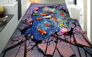 Suelo 3D Río fishs 4 Piso impresión de parojo de papel pintado mural 5D AJ Wallpaper Reino Unido Limón