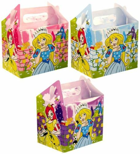Princess Girls Kids Paper Card Lunch Boxes Party Favour Cake Gift Loot Bags