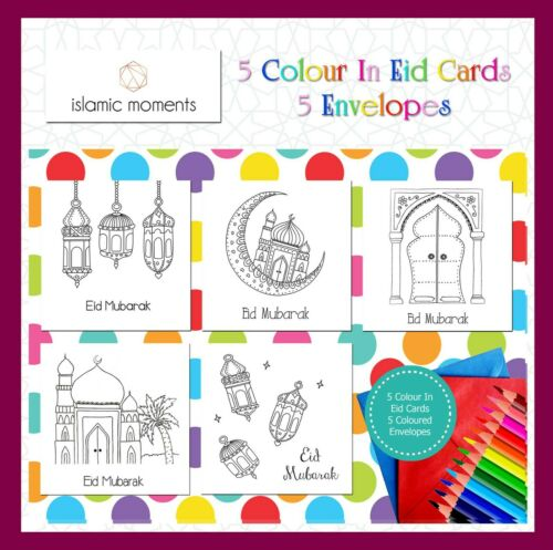 Colour in Eid Cards Happy Eid Faith Mixed Set Children Fun Party