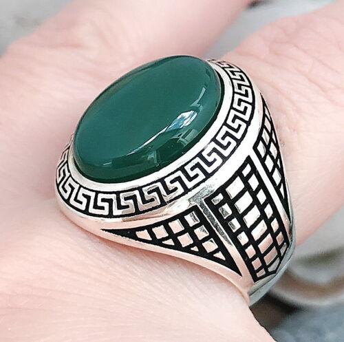 Coral or Jade Lab 925 K Sterling Silver Men Ring