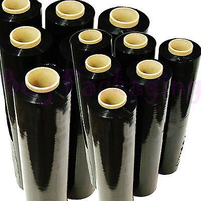 6 X STRONG ROLLS BLACK PALLET STRETCH SHRINK WRAP CAST PARCEL PACKING CLING FILM