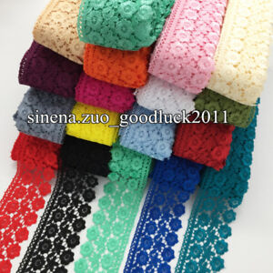 1-Yard-Polyester-Lace-Trim-Ribbon-Applique-Embroidered-Sewing-Handicrafts-FL130