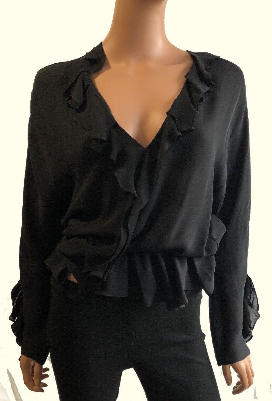 Haute Hippie  Ruffle Front V Neck Long Sleeve schwarz Silk Blouse Größe M