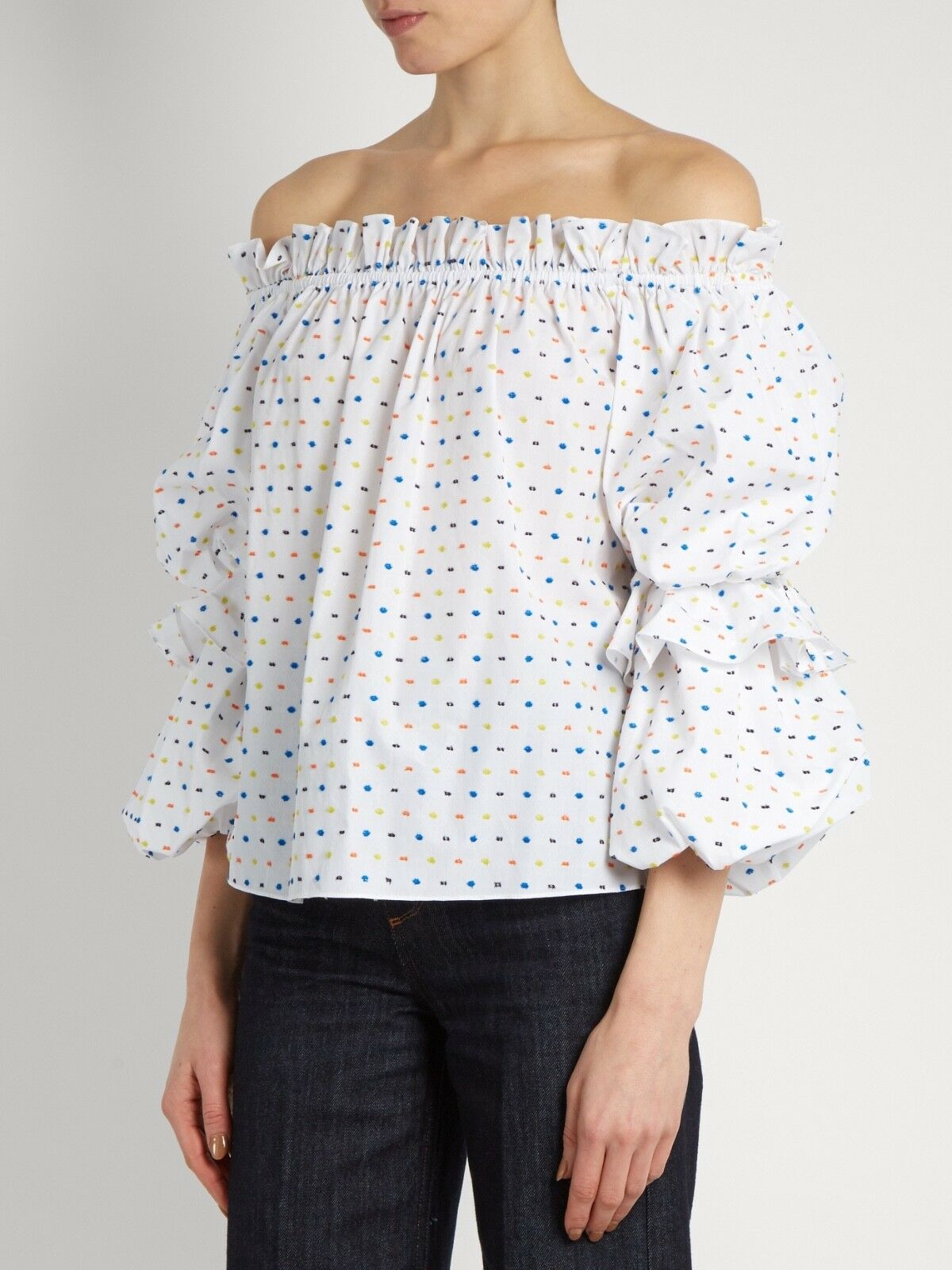 Caroline Constas Gia Off The Shoulder Top in Weiß Größe XS