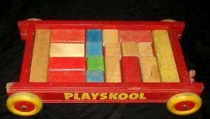 Details About Vintage Red Playskool Wooden Blocks Pull Wagon Toy W Original Pull String
