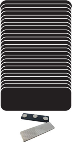 "25 BLANK 1 X 3 BLACK A WHITE NAME BADGE KIT TAGS 1//4/"" CORNERS MAGNETS"