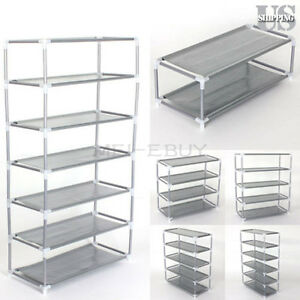 Image Is Loading Metal Shoes Rack Stand Storage Organizer Fabric Shelf