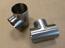 """3"""" Equal Tee Sanitary T304 Stainless Steel Pol OD/ID 7WWW Butt-Weld NEW"""