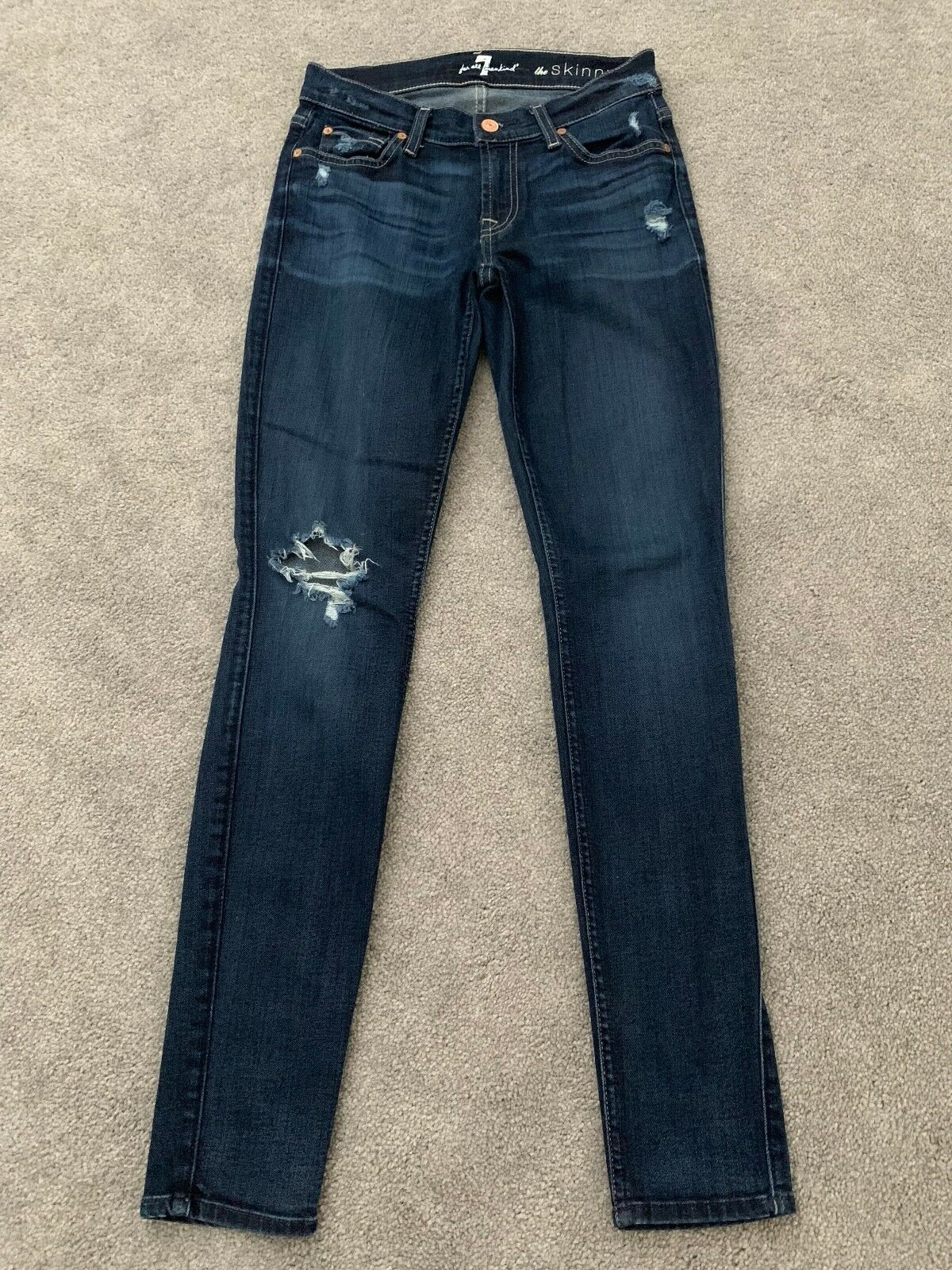 7 For All Mankind Destroyed Destruction Skinny Jeans Dark Denim 25