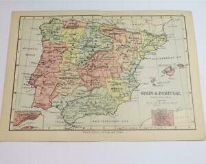 Small Map From An 1895 World Atlas Map Of Spain Portugal 24 Ebay