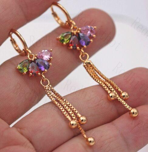 """2.2/"""" Boucles d/'oreilles rubis émeraude Améthyste Rose Quartz Pétale Chaîne DS 18K Gold filled"""