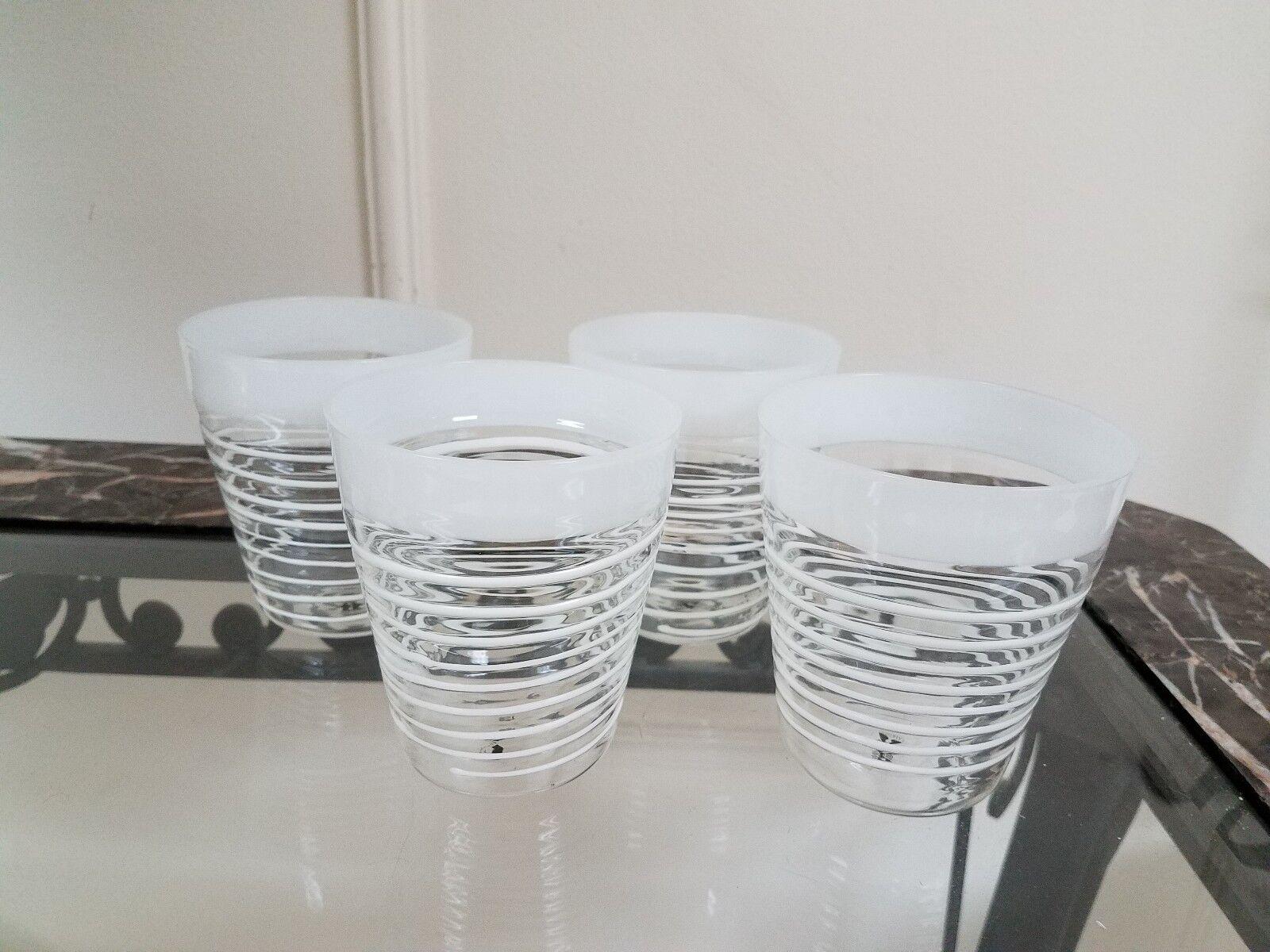 Juego de 4 Vaso De Vidrio.. Abigails Isola Espiral blancoo, 4  X 4.25  X 4  Nuevo