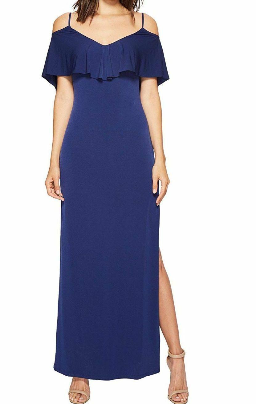 NEW  LAUNDRY damen Blau COLD-SHOULDER LACE-UP POPOVER JERSEY GOWN DRESS 10