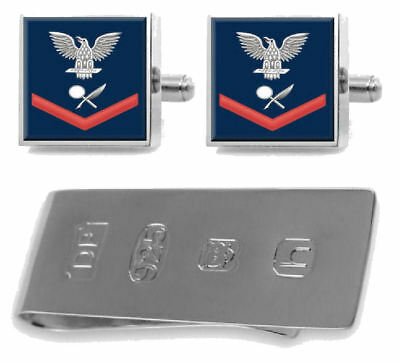 Cufflinks Engraved Money Clip U.S Navy Chief Red E-7 Mess Manager Specialist MS