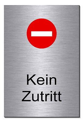 Kein Zutritt-Türschild-Edelstahl-Schild-75 mm Ø-Warnschild-Privat-Hinweisschild