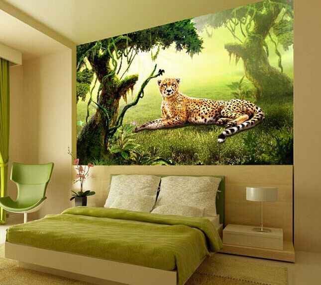 3D Ruhe leoparden im Wald 707 Fototapeten Wandbild Fototapete BildTapete Familie