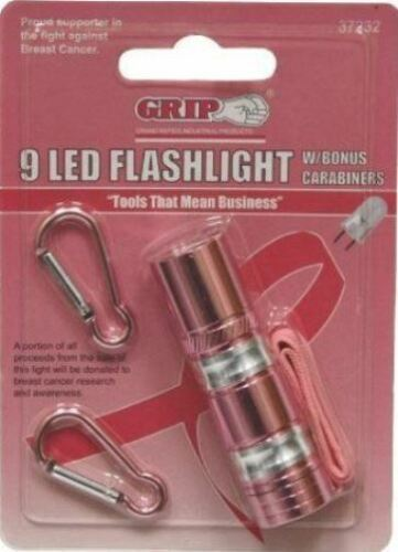 SEALED 3PK NEW PINK 9 LED FLASHLIGHT WITH CARABINERS  BREAST CANCER CAMPING