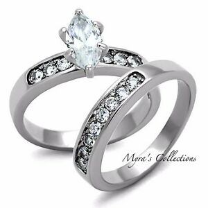 Image Is Loading Beautiful Marquise Cut Stainless Steel Aaa Cz Wedding